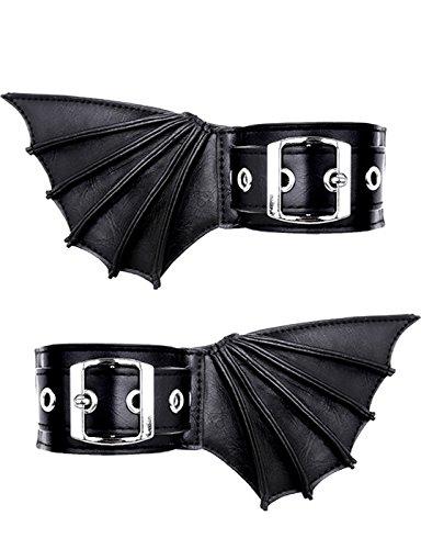 Armbänder schwarze Gothic mit Fledermaus-Flügel für Ärmelbündchen oder Schuhe