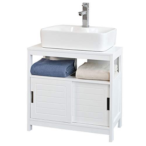SoBuy Mueble para Debajo del Lavabo,Armario de Baño de Suelo,1 Estante y...