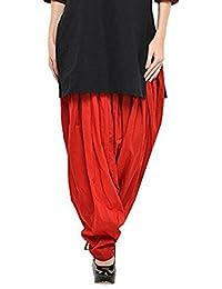 Kurti Studio Women's Cotton Semi Patiala Salwar (semip17_Red_Free Size)
