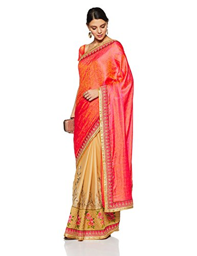 Aalia Faux Georgette Embroidered Saree with Blouse piece (15628!_Beige and Bright Red!_One size)