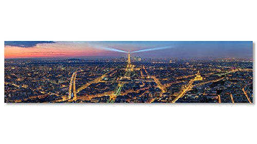 Fine Art Panoramafoto bis 3 Meter Breite, Frankreich Paris großes Städtepanorama am Abend mit Eiffelturm Print auf Premium Fotopapier mit Schutzlack als exklusives Panorama Panoramabild und hochwertiges Wandbild, Wanddekoration, Wanddeko auf Original Forex © Hartschaumplatte 160 x 40 cm © Tour Eiffel-Illuminations Pierre Bideau