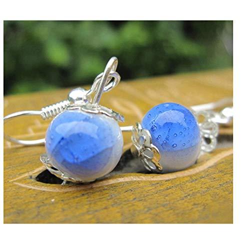 kissfriday Deep Blue Drop Keramik Ohrringe Ethnischen Stil Handgefertigte Duft Ohrringe -