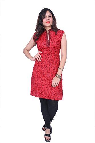 Thari Choice Printed Short Stitch Red Kurti For Women And Girls
