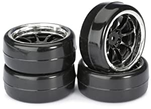 Absima - Wheel Set Drift LP  9 Spoke/Profile B black/chrome 1:10 (4 pcs) (2510043)