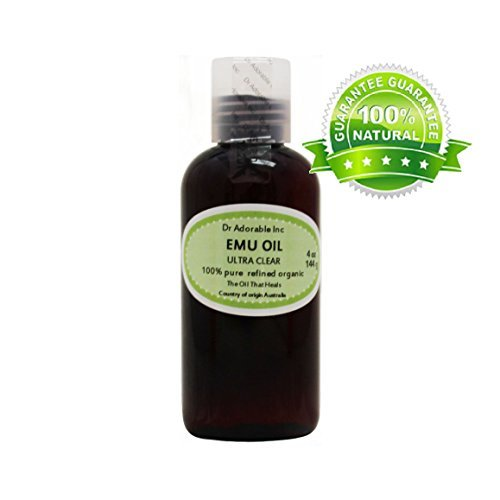 ULTRA CLEAR EMU OIL BY DR.ADORABLE 100% PURE ORGANIC NATURAL 4 OZ