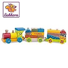 Eichhorn 100002223 - Set treno in legno 20 pezzi, incl. 17 mattoncini, 41 cm