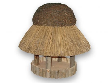 Vogelhaus Sylt mit Reetdach (rund 74 cm Durchmesser (ohne Ständer))