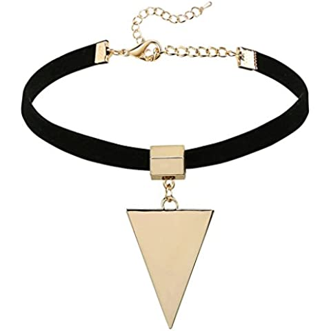 Gnzoe Donna Acciaio inossidabile Pendant Velvet In pelle Stretch Choker Girocollo Catenan Collane