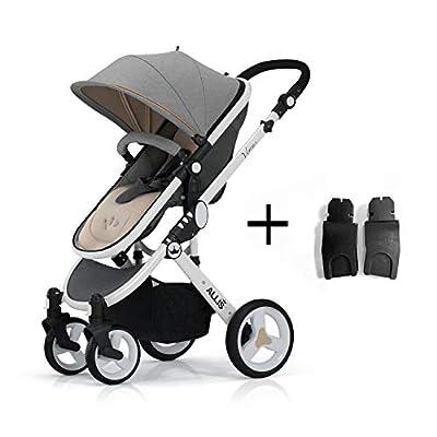 Allis Pushchair 2in1 Pram Buggy Stroller Carry Cot Travel System Venus - Grey (with Car Seat Adaptor)