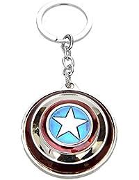 RJM Silver Captain America Rotating Shield Keyring & Keychain | Key Ring For Car Bike Home Keys | Key Chain For...