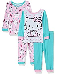 4d8a403f0 Sanrio Baby Girls Hello Kitty 4-Piece Cotton Pajama Set,