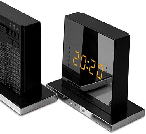 Naf Naf SHINEBT - Radio Despertador Bluetooth Ultra Compacto con Espejo, Color Plata