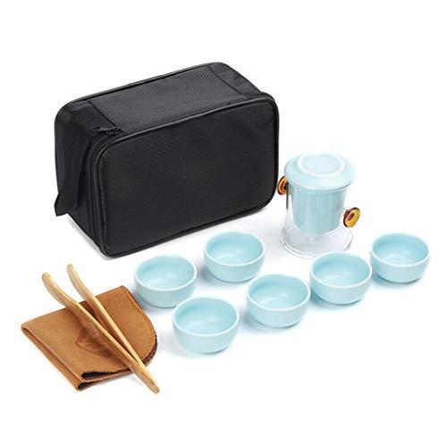Wtbew-u Keramisches Tee-Set, Reise-Kung Fu-Tee-Set-Auto-Tragekoffer, Chinesische Art Draußen Geschäft