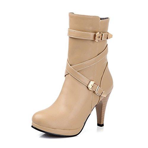 AllhqFashion Damen Rund Zehe Reißverschluss PU Rein Hoher Absatz Stiefel, Aprikosen Farbe, 35