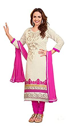 Khushali Women Cotton Embroidered Unstitched Salwar Suit Dress Material (White)