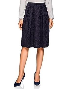 oodji Collection Mujer Falda de Encaje con Cintura Elástica Decorativa