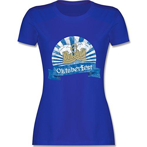 Oktoberfest Damen - Bierkrüge Vintage - tailliertes Premium T-Shirt mit Rundhalsausschnitt für Damen Royalblau