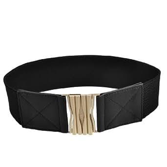 Gold Tone Interlocking Buckle Black Elasticated Cinch Waist Belt Band