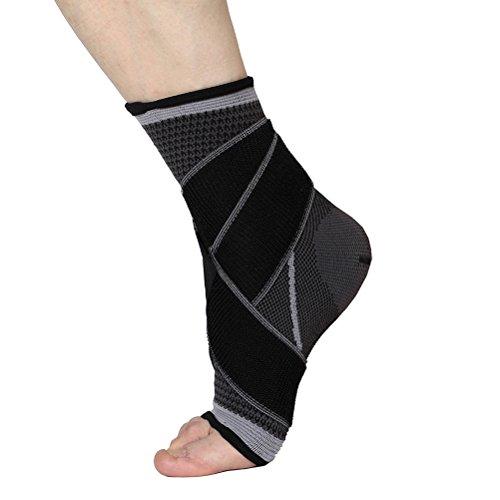 WINOMO Tobillera Estabilizadora Deportiva Protección de tobillos para prevenir de Esguince lesiones en el tobillo de las actividades diarias Unisexo (Negro + Gris)