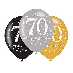 amscan 9900734 - Globos de látex para celebración de 70 cumpleaños (11 Pulgadas)