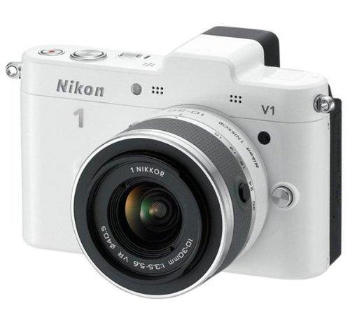 Nikon 1 V1 Systemkamera (10 Megapixel, 7,5 cm (3 Zoll) Display) weiß inkl 1 NIKKOR VR 10-30 mm Objektiv