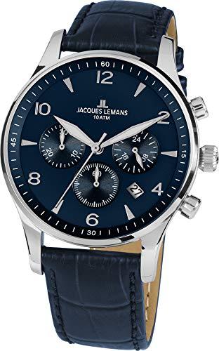 Jacques Lemans Reloj Cronógrafo para Hombre de Cuarzo con Correa en Cuero 1-1654ZC