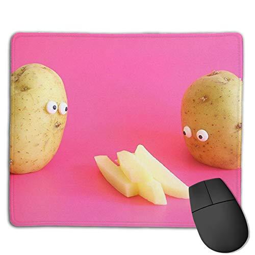 """Jujupasg Mauspad Mit Verriegelungskante, Rutschfestes Mousepad Auf Gummibasis Für Laptop, Computer Und PC, 7,1\""""x 8,7\""""-Lustige Kartoffel Witz Nahrungsmittelchips"""