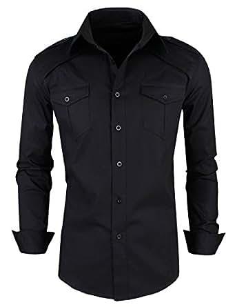 New Luxury Mens Casual Slim fit Dress Shirts Black Small