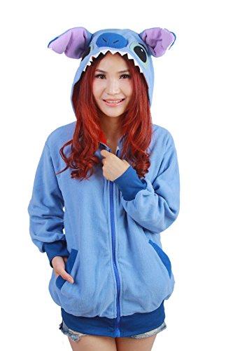 CuteOn Unisex Cartone Animato Animale Felpa con cappuccio Felpe Tracksuit Pullover con cappuccio Maglione Giacca Casuale Outwear Blu Stitch Small