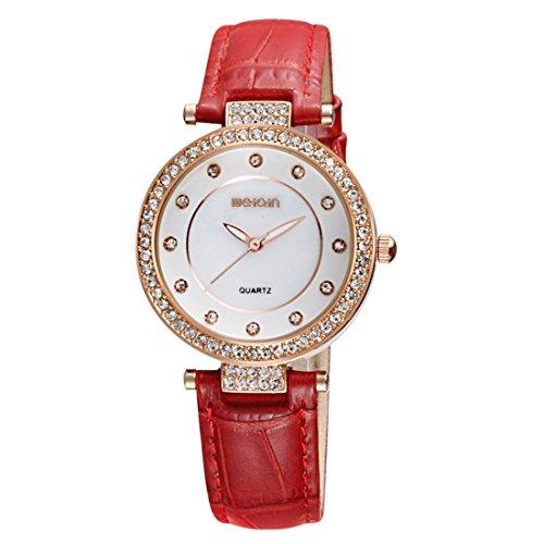 anke, minimalistische Diamantkantenquarzuhr mit Lederband und femininem Glühen (Farbe : Rot) ()