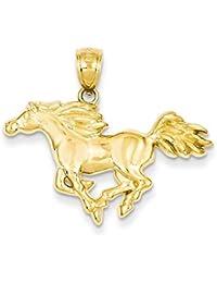 Para hombre 10K Amarillo Dorado Blanco gemstone Jesús encanto herradura de caballo EGP41 iODNj