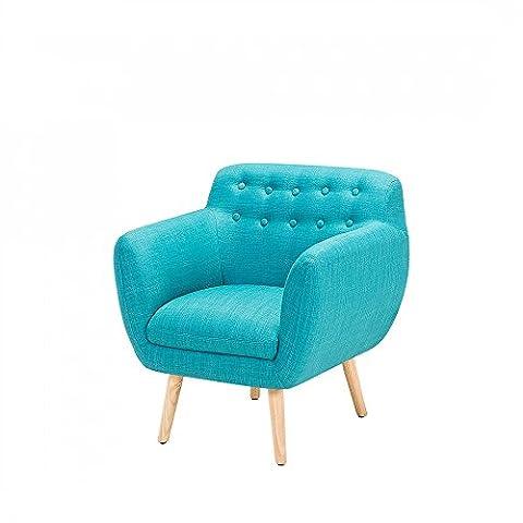 Fauteuil de salon - fauteuil en tissu bleu turquoise -