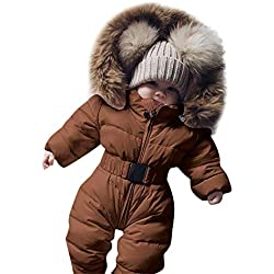 Abrigo de Traje Bebé, LANSKIRT Invierno Bebé niño niña Color sólido Mameluco Abajo algodón Chaqueta con Capucha Mono Cálido Grueso Abrigo de Traje