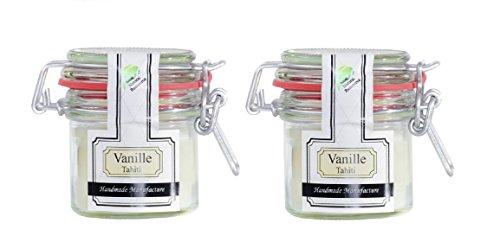 Parfüme Boutique 1101367 VT Vintage Verre S Parfum Vanille Tahiti Bougie parfumée dans Verre, Blanc, 10 x 10 x 8,5 cm