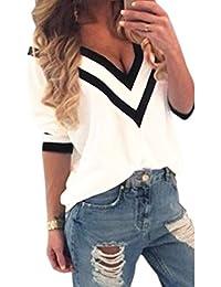 LAEMILIA Femme T-shirts Mousseline de Soie Manches Courtes Hauts V-Col Blouse Tops Chemise
