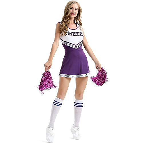 Jasmine7 Damen Cheerleading Kostüm Minirock Musik Uniform Kostümparty Komplettausstattung (Cheerleading Uniformen Kostüm)