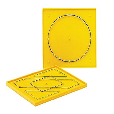 """School Smart Plastic Double Sided Geoboard with Rubberbands, 5"""" Length, 5"""" Width from School Specialty"""
