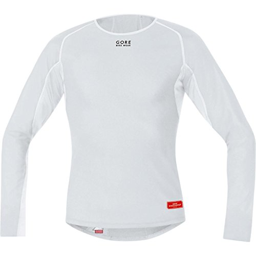 GORE BIKE WEAR Herren Thermo-Unterzieh-Shirt, Langarm, Stretch, GORE WINDSTOPPER, BASE LAYER WS Thermo Shirt long, Größe: L, Hellgrau/Weiß, UWTLSM