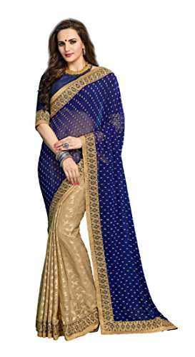 Chigy Whigy Blue And Beige Georgette And Jacquard Chiffon Party Wear Sarees