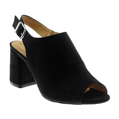 f324b22eecd8de ... Haut Bloc Talon 85cm Noir. B0791KKG5D. Angkorly Chaussures Chaussures  Mode Decollete Mules Open-back Peep-toe Femme Boucle Perforée String