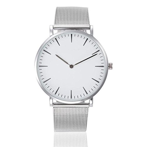 Damen Uhren, Kingwo Armbanduhr Herren-Mode Kristall Edelstahl-Analog-Quarz Armbanduhr Armband (Silber)