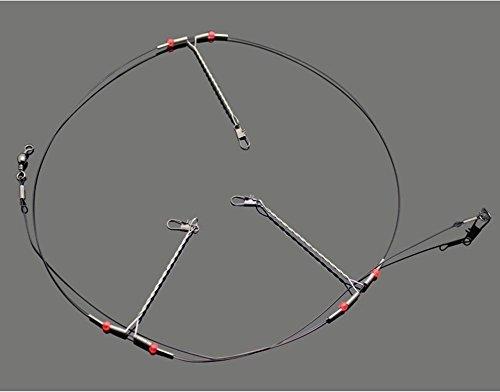 10PCS Edelstahl Angeln lockt Draht Leader Trace mit Snap & Perlen & 3Arme Angeln Rigs Leaders Trace 22,7getestet für frisch/Salz Wasser -