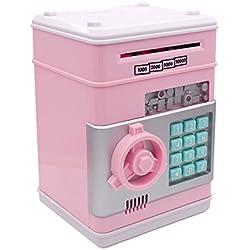 Huchas, Netspower Hucha Dinero Bancos, Electrónica Digital Mini ATM Ahorro de Bancos, Cajas de Ahorro de la Moneda, Juguetes de los Regalos para Niños con Sonido - Rosa