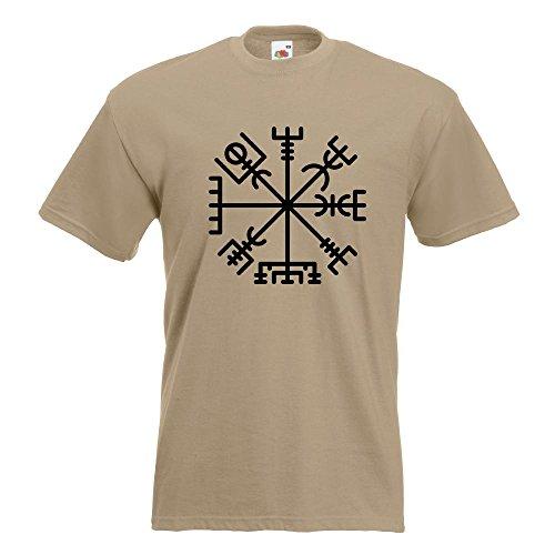 KIWISTAR - Vegvisir - Runic Compass T-Shirt in 15 verschiedenen Farben - Herren Funshirt bedruckt Design Sprüche Spruch Motive Oberteil Baumwolle Print Größe S M L XL XXL Khaki
