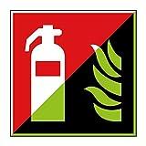 Feuerlöscher Brandschutzzeichen 200x200mm - lang nachleuchtend - Folienschild selbstklebend - gem. ASR 1.3, DIN ISO 7010 (F001)