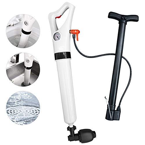 Junnom Aufblasbarer Toilettenkolben, hochdruck-Ablasskolben Leistungsstarker Luftablass-Blaster WC Plunger mit 3 Kolbenköpfen und Inflator für Dredge Toilette/Waschbecken/Badewanne/Bodenablauf -
