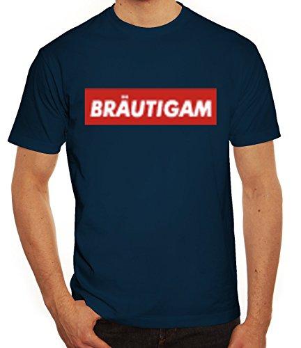 (Herren T-Shirt Bräutigam Geschenkidee Partner Gruppen Kostüm Mode JGA Feier Graffiti Streetart, Größe: S,Dunkelblau)