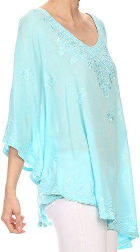 Sakkas Valeray Nature Floral brodé large long Poncho Tunique Shirt Top Bleu