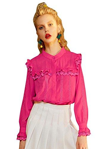 Elf Sack Damen Sommer Crewneck Loose Chiffon Lace Shirt Rose Rot