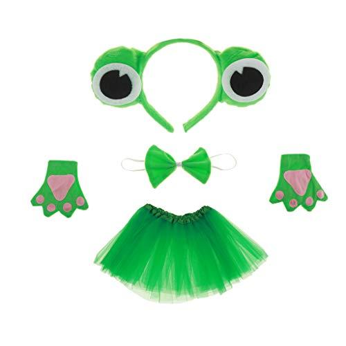 (Blesiya Froschkönig Kostüm Set - Haarreif, Fliege, Handschuhe und Tutu Rock, Kinder Geburtstag Fasching Karneval Cosplay Party Kostüm)